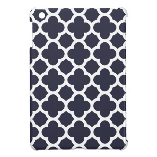 Navy Blue Quatrefoil Trellis Pattern Cover For The iPad Mini