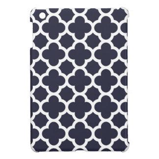 Navy Blue Quatrefoil Trellis Pattern iPad Mini Cover