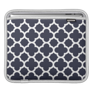 Navy Blue Quatrefoil Trellis Pattern Sleeves For iPads
