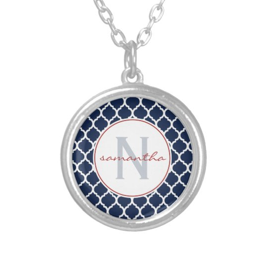 Navy Blue Quatrefoil with Initial an Name Silver Plated Necklace