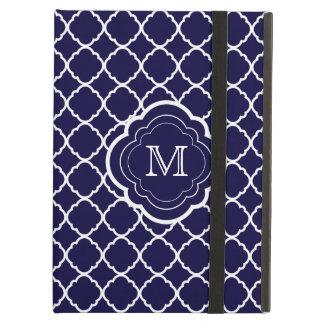Navy Blue Quatrefoil with Monogram iPad Air Covers