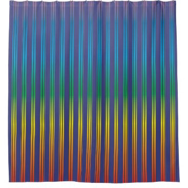 Beach Themed Navy Blue & Rainbow Gradient Stripes Shower Curtain