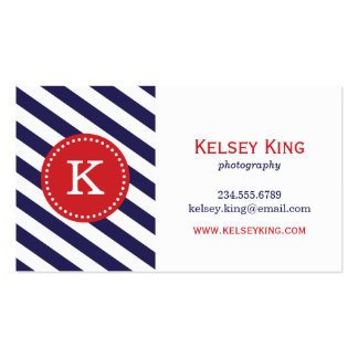 Navy Blue & Red Chevron Stripes Monogram Business Card Template
