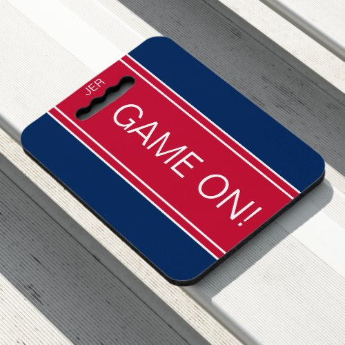 Navy Blue  Red GAME ON Monogram Stadium Sports Seat Cushion