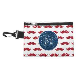 Navy Blue Red Glitter Mustache, Your Monogram Accessory Bag