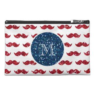 Navy Blue Red Glitter Mustache, Your Monogram Travel Accessories Bag