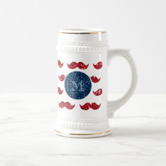 Navy Blue Red Glitter Mustache, Your Monogram Beer Stein