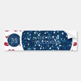 Navy Blue Red Glitter Mustache, Your Monogram Bumper Sticker