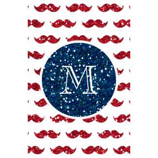 Navy Blue Red Glitter Mustache Your Monogram Wall Calendar