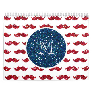 Navy Blue Red Glitter Mustache, Your Monogram Wall Calendar