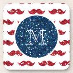 Navy Blue Red Glitter Mustache, Your Monogram Beverage Coaster