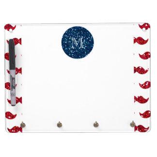 Navy Blue Red Glitter Mustache, Your Monogram Dry-Erase Whiteboards