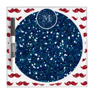 Navy Blue Red Glitter Mustache, Your Monogram Dry Erase Whiteboard