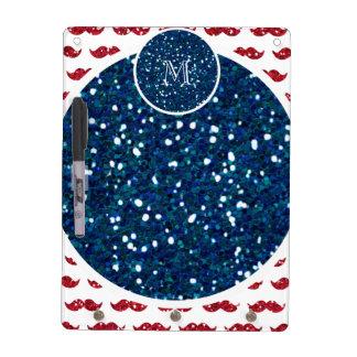 Navy Blue Red Glitter Mustache, Your Monogram Dry-Erase Whiteboard