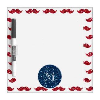 Navy Blue Red Glitter Mustache, Your Monogram Dry-Erase Boards