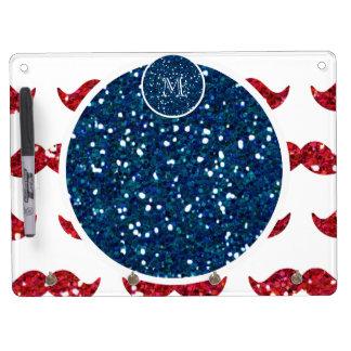 Navy Blue Red Glitter Mustache, Your Monogram Dry Erase Whiteboards