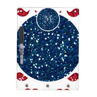 Navy Blue Red Glitter Mustache, Your Monogram Dry Erase White Board