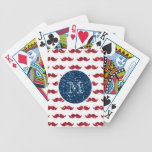 Navy Blue Red Glitter Mustache, Your Monogram Playing Cards