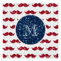 Navy Blue Red Glitter Mustache, Your Monogram Poster