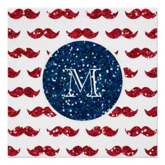 Navy Blue Red Glitter Mustache, Your Monogram Poster
