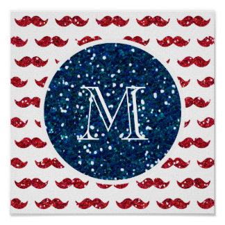 Navy Blue Red Glitter Mustache, Your Monogram Posters