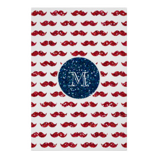 Navy Blue Red Glitter Mustache, Your Monogram Print