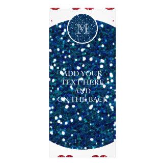 Navy Blue Red Glitter Mustache, Your Monogram Rack Card