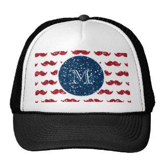 Navy Blue Red Glitter Mustache, Your Monogram Trucker Hat