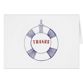Navy Blue Red Life Preserver Thank You Note Card