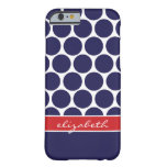 Navy Blue & Red Mod Big Dots Custom Monogram Barely There iPhone 6 Case