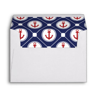 Navy Blue Red Nautical Anchor Lined Envelopes