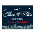 Navy Blue & Red Nautical Wedding Save the Dates Postcard