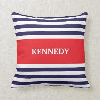 Navy Blue Red Stripes Monogram Throw Pillow