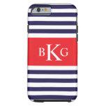 Navy Blue Red Stripes Monogram Tough iPhone 6 Case
