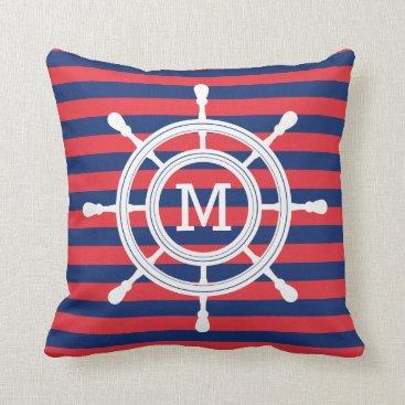 Beach Themed Navy Blue & Red Stripes Rudder Monogram Throw Pillow