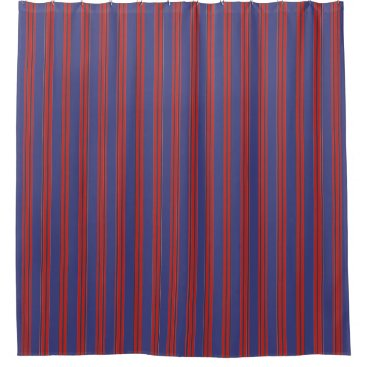 Beach Themed Navy Blue & Red Stripes Shower Curtain