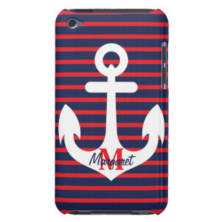 Navy Blue Red Stripes White Anchor Monogram Name iPod Touch Case