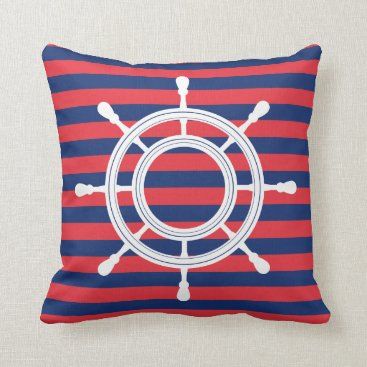 Beach Themed Navy Blue & Red Stripes - White Rudder Throw Pillow