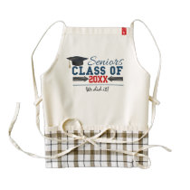 Navy Blue Red Typography Graduation Apron