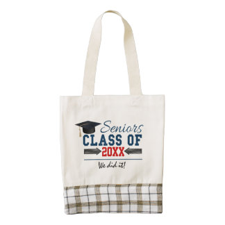 Navy Blue Red Typography Graduation Bag