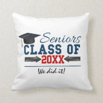 Navy Blue Red Typography Graduation Cushion