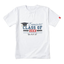 Navy Blue Red Typography Graduation tees