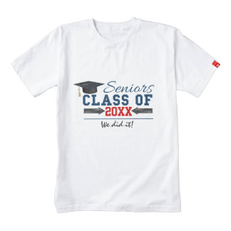 Navy Blue Red Typography Graduation tees Zazzle HEART T-Shirt
