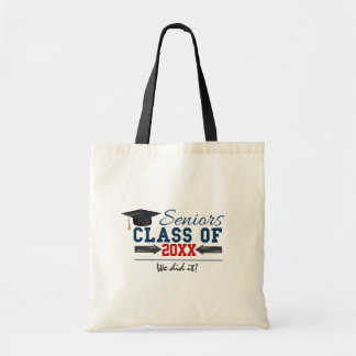 Navy Blue Red Typography Graduation Tote Bag