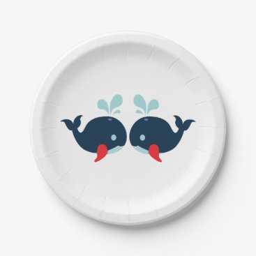 Beach Themed Navy Blue Red Whales Nautical Wedding / Party Paper Plate
