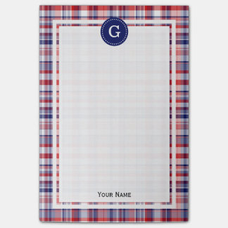 Navy Blue Red White Madras Plaid 1IR Framed Post-it Notes