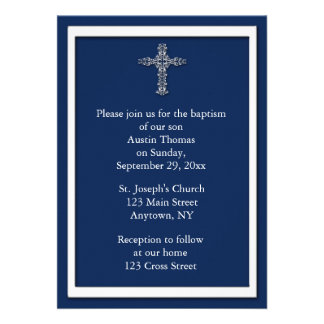 Navy Blue Religious Invitation