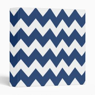 Navy Blue Retro Colorful Modern Chevron Pattern Binders