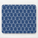 Navy Blue Retro Colorful Modern Doodles Mouse Pad