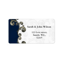 """navy blue"" return address label"